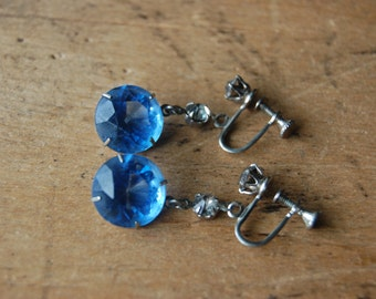 Art Deco blue glass drop earrings ∙ 1930s cut glass earrings