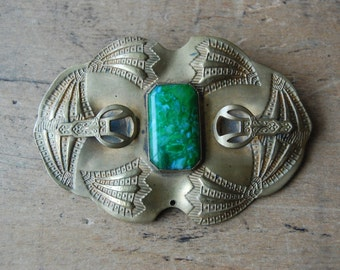 Antique 1910s Art Nouveau brooch ∙ Edwardian sash pin with green glass