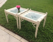 THOMASVILLE FAUX BAMBOO Tables Hollywood Regency Pair of Vintage Side Tables Fretwork Palm Beach Style at Retro Daisy Girl