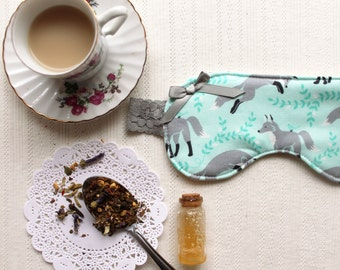Winter Fox Sleep Mask in Icy Blue and Grey with Lace Strap Blindfold Sleepmask Eye mask 100% Cotton