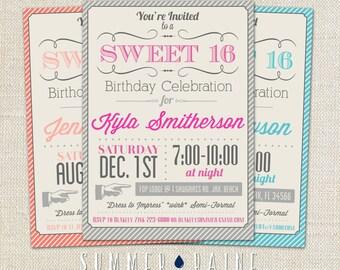 Custom Color Printable Sweet 16 Invitation