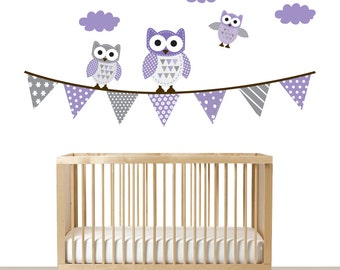 Vinyl Wall Decal Modern Nursery Wall Art Patterned Flag with Owls and Clouds Vinyl Wall Decal Set
