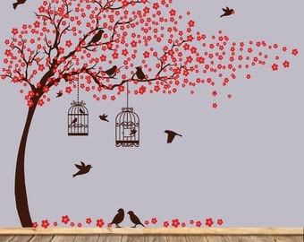 Vinyl wall decals tree wall decal birds birdcage wall decals nursery wall sticker
