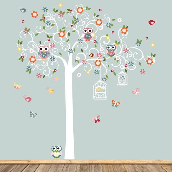 Swirl Tree Wall Decal - Nursery Wall Decoration - Swirl Wall Sticker - Flower Decal - Nursery Stickers -Vinyl Decals