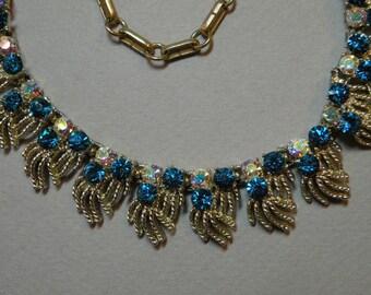 Vintage Aqua Rhinestone Necklace