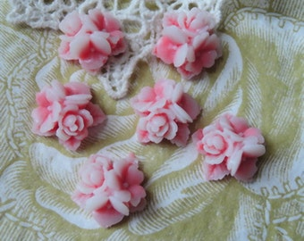 15%off  404-00-CA   6pcs Beautiful Ster Flower Cabochon - Pink / Whit