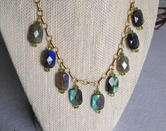 Brilliant Labradorite and Peridot 14k Gold-Filled Necklace