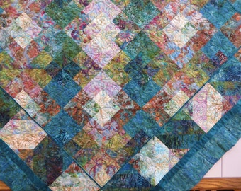 Terrific Teal Quilted Batik Tablecloth Couch throw lap quilt