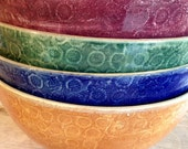 Handmade Salad, mixing, Serving bowl, textured dark green, pottery ceramic stoneware clay, six colors to choice from.