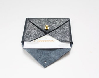 Navy Blue Leather Envelope Pouch / Business Card Holder / Mini Wallet / Card Case / Gifts for Him or Her