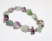 Fluorite Bracelet ~ Fluorite Gemstone ~ Purple Beaded Bracelet