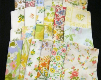 Vintage Floral Sheet Fabric Fat Quarter Grab Bag Bundle of 12
