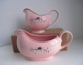 Taylor Smith Taylor Pink Dwarf Pine Gravy Boat and Creamer
