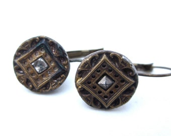 Victorian ear bobs.  antique button earrings