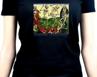 Danse Macabre Skeleton Death Dance Women's V-Neck Shirt / Top