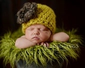 Newborn Beanie Cloche Flower Hat Yellow Citron Barley