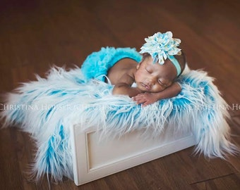 Frosted Aqua Blue Mongolian Faux Fur Blanket Newborn Photography Prop Baby Toddler