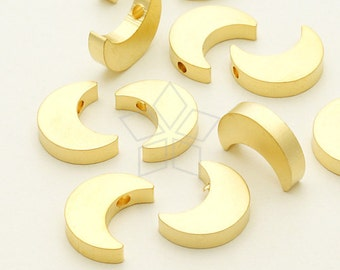 ME-187-MG / 2 Pcs - Crescent Moon Charms(Bead Type), Matte Gold Plated over Brass / 8.6mm x 11mm