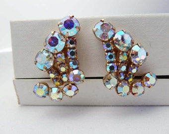 Water Fall  Aurora Borealis Clip On Earrings Gold Plated Apparel & Accessories Jewelry Vintage Jewelry Earrings Clip On Rhinestone