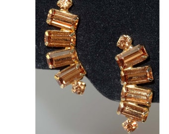 """By """"Weiss"""" Colorado Topaz Rhinestone Clip On Earrings Apparel & Accessories Jewelry Vintage Jewelry Earrings Clip On Rhinestone"""