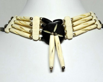 Bone and Leather. Choker Necklace Apparel & Accessories Jewelry Vintage Jewelry Necklace