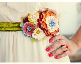 Custom Wedding Belts and Sashes, Floral Bridal Sash Made to Order in Your Wedding Colors and Style, Unique Fabric Flower Wedding Accessories