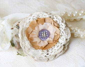 Fabric Flower Pin, Lace Flower Pin, Tan and Lavender Textile Brooch, Floral Dress Pin, Bridal Sash Pin, Bridesmaid Corsage, Scarf Pin