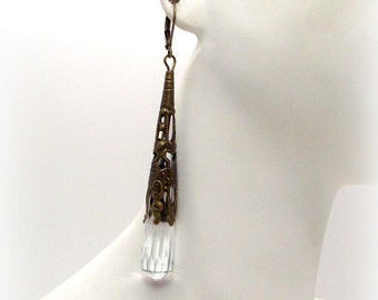 Icy Crystal and Golden Bronze Drop Earrings - Clear Crystal Earrings
