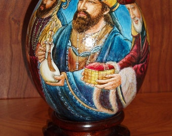 Three Wish Men/ Religions Scenes/ Hand Painted Ostrich Egg Shell/ Egg Art