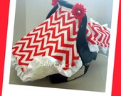 Infant / Baby Car Seat Canopy/ Tent / Cover/Red Chevon/Ivory MInky/2 Bling Flowers -READY TO SHIP