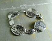 Seasons, Fine and Sterling Silver Tree Bracelet, Handmade Artisan Original by SilverWishes