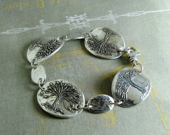 Seasons, Fine and Sterling Silver Tree Bracelet, Handmade Artisan Original by SilverWishes