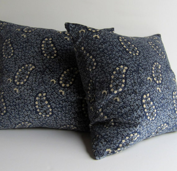 Set of Two Indigo Blue Paisley Velvet Pillow by studiotullia