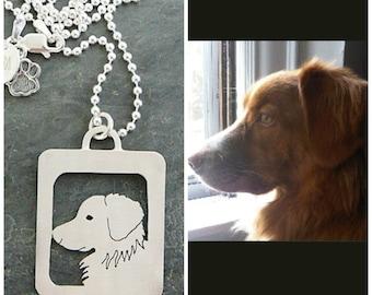 Pendant Necklace, Pet Portrait, Dog, Custom personalized Dog Art, Open Back, Head Shot