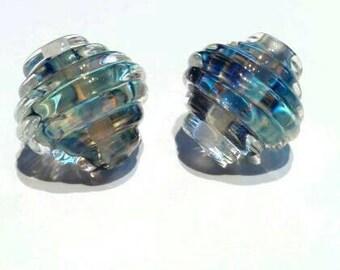 Blue Metallic Ribbed Bicones - Handmade Lampwork - UK - SRA - SRA