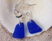 Sea Glass Earrings in Cobalt Blue with Simple Glass Bead Accents on Sterling Silver French Ear Wires EB 19