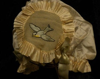 x Circa 1920's Silk Dainty Lady's Night Cap with Two Bluebirds embroidered in pleated circles of silk (#FF021815-14)