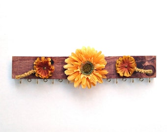 Necklace & Earring Hanger - Yellow Forest Flowers - repurposed from scrap wood #17