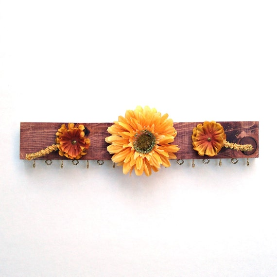 Jewelry hanger - Yellow Forest Flowers - repurposed from scrap wood