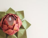 Tea Light Paper Flower -  origami, battery LED candle -  table decor, housewarming, hostess gift, can ship directly
