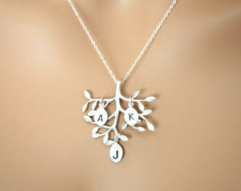 Family Tree necklace with three initial leaves, tree branch necklace, leaf necklace, STERLING SILVER - family tree necklace, leaf jewelry