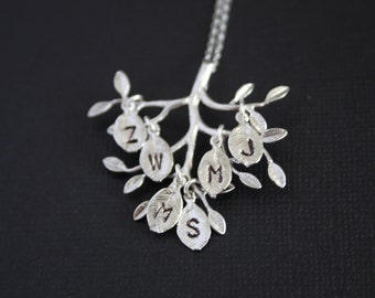 Family Tree necklace with  initial leaves - SILVER or GOLD , family tree,  with number of leaves to choose, mom necklace,  perfect gift