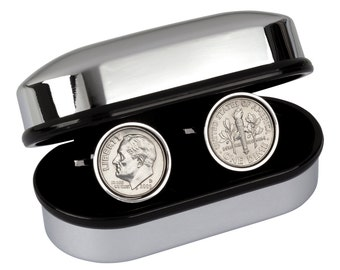 Birth Year Coin Cufflinks- Choose the year of the Coin-US 10 Cent-100% Satisfaction Warranty - Includes presentation box