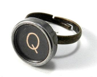 Typewriter Key Ring - Letter Q Ring Name Ring - Custom Initial Ring - Brass Adjustable Ring