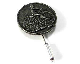 Vintage Bicycle Cyclist Pin, Antique Carnival Bicycle Button, Circus Hat Pin or Lapel Pin, Stickpin Brooch by Compass Rose Design