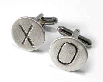 Valentines Day Cuff Links - X & O Stamped Cufflinks - Sterling Silver Vintage Rustic Boho Steampunk