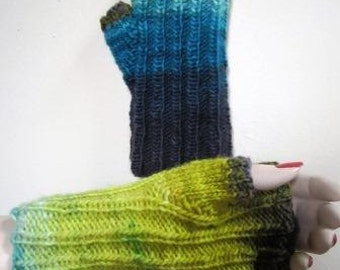 Texting Mitts Fingerless Hand Knit Freia Fine Handpaint Wool Mismatch  - Size Medium