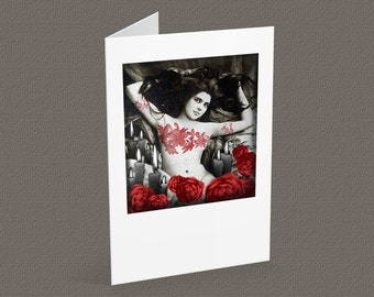 The WITCHING HOUR blank note card A6, vintage-goth inspired, halloween card