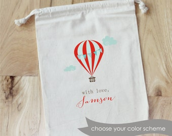 HOT AIR BALLOON -Personalized Favor Bags - Set of 10 - birthday- Baby Shower - Bridal Shower