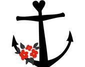 bloemen anker - tijdelijke tattoo